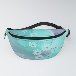 Floating flowers teal Fanny Pack