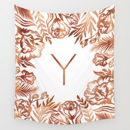 Letter Y - Faux Rose Gold Glitter Flowers Wall Tapestry