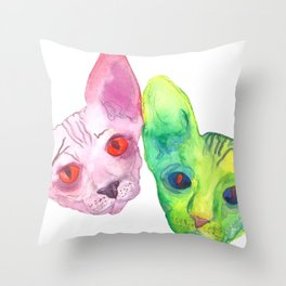 Colored Cats Throw Pillow