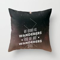 geology Throw Pillows featuring Wanderers - MSL/Curiosity Commemoration Print by vondell