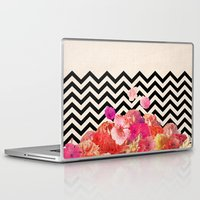 collage Laptop & iPad Skins featuring Chevron Flora II by Bianca Green