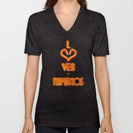 Loves The Flamingos V All Over Print Shirts Unisex V-Neck
