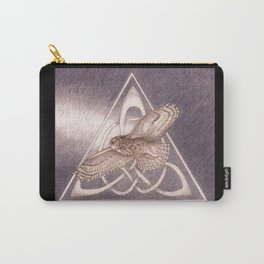 Great Horned Owl Over Celtic Triskeles Carry-All Pouch