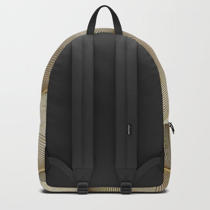 Geometrical Line Art Circle Distressed Gold Backpack