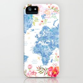 Blue and hot pink floral watercolor world map with cities iPhone Case