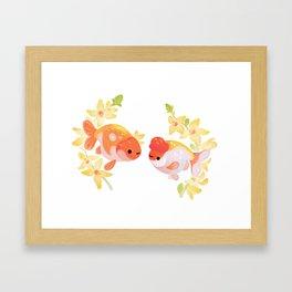Ranchu and Forsythias Framed Art Print