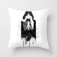 bones Throw Pillows featuring Bones by Jaaaiiro