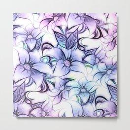 Violet pink teal hand painted sketch elegant floral Metal Print