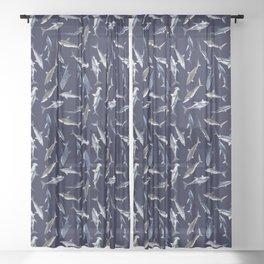 SHARKS PATTERN (NAVY BLUE) Sheer Curtain