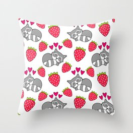 Cute funny sweet adorable sleeping baby raccoons, little pink hearts and red ripe summer strawberries cartoon white pattern design Throw Pillow