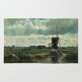 Willem Roelofs  - Polder Landscape With Windmill Near Abcoude Rug