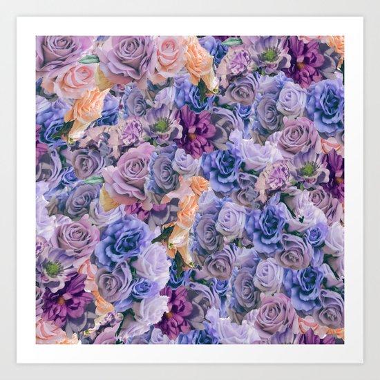 purple flowers pattern  Art Print