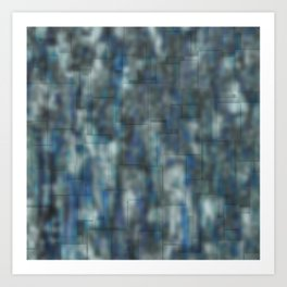 Abstract blue bluring pattern Art Print