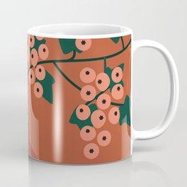 Berry Leaves, English Ivy, Boho Botanical Print, Terracotta Coffee Mug