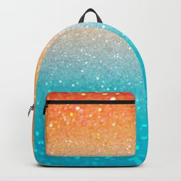 Glitter Teal Gold Coral Sparkle Ombre Backpack
