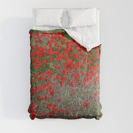 Beautiful Red Wild Anemone Flowers In A Spring Field  Comforters
