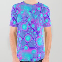 Neon Molecules Psychedelic Fractal All Over Graphic Tee