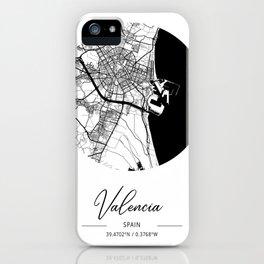 Valencia Area City Map, Valencia Circle City Maps Print, Valencia Black Water City Maps iPhone Case