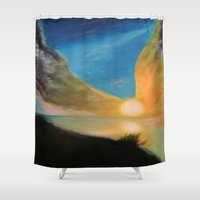 angel wings Shower Curtains featuring WINGS OF AN ANGEL by KEVIN CURTIS BARR'S ART OF FAMOUS FACES