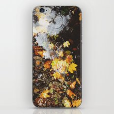 Detail of autumnal leaves and rain in a puddle. Norfolk, UK iPhone & iPod Skin