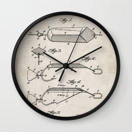 Fishing Lure Patent - Fisherman Art - Antique Wall Clock