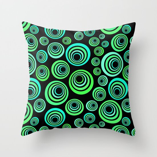 Throw Pillows Blue Green : Neon blue and green Throw Pillow by IvaW Society6