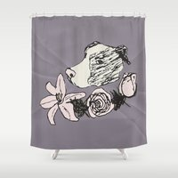 pitbull Shower Curtains featuring Majestic Pitbull by Carrillo Art Studio