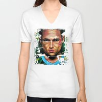 tyler durden V-neck T-shirts featuring FIGHT CLUB - TYLER DURDEN by John McGlynn