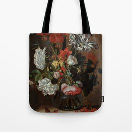 """Jacob Marrel """"Flowers in a glass vase"""" Tote Bag"""