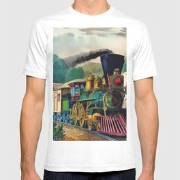 1870 Currier & Ives Steam Locomotive - The Express Train Lithograph T-shirt