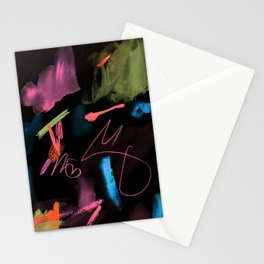 Abstract Scribbles Neon Pink Black Stationery Cards