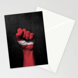 Latvian Flag on a Raised Clenched Fist Stationery Cards