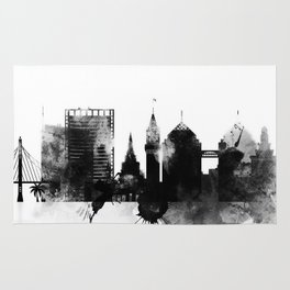 Oakland Black and White Skyline poster Rug