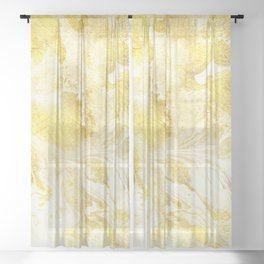Golden Marble Abstract Sheer Curtain