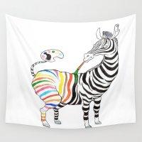 zebra Wall Tapestries featuring Zebra by gunberk