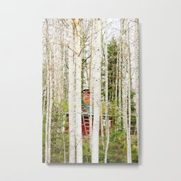 Red hut in forest Metal Print