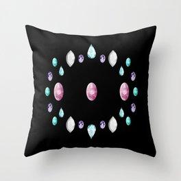 Gemstone Circle in Black Throw Pillow