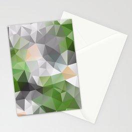 Grey green polygonal pattern Stationery Cards