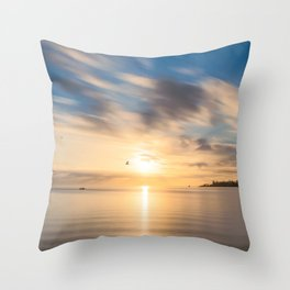 Birds flying at golden hour at Anse Vata Bay in New Caledonia Throw Pillow