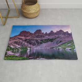 Purple Mountain Lake // Rocky Peak Crescent Moon Incredible Colorful Sunset Beauty Rug