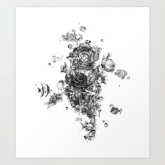 The Diver (Black and White Version) Art Print