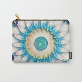 Aqua White Flower Kaleidoscope Carry-All Pouch