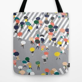 Crossing The Street on a Rainy Day - Grey Tote Bag