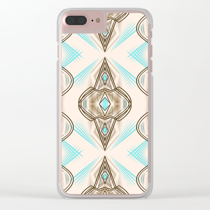 Art Deco . Turquoise brown white . Clear iPhone Case
