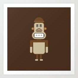 Monkey Robot Geometric Art Art Print