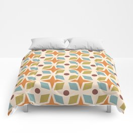 Mid Century Modern Abstract Star Dot Pattern 441 Orange Brown Blue Olive Green Comforters