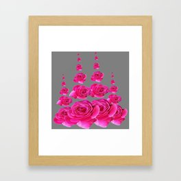 DECORATIVE SURREAL FUCHSIA PINK ROSES  COLUMNS Framed Art Print