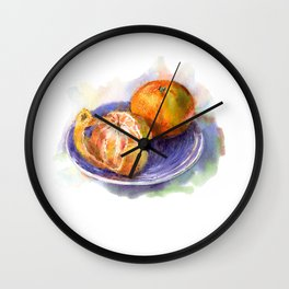 Mandarine whole and peeled on a blue plate. Watercolor hand-drawn. Wall Clock