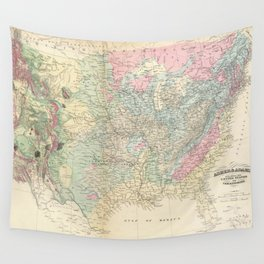 Vintage United States Geological Map (1874) Wall Tapestry