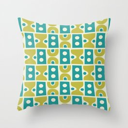 Funky Mid Century Modern Pattern 773 Turquoise and Chartreuse Throw Pillow